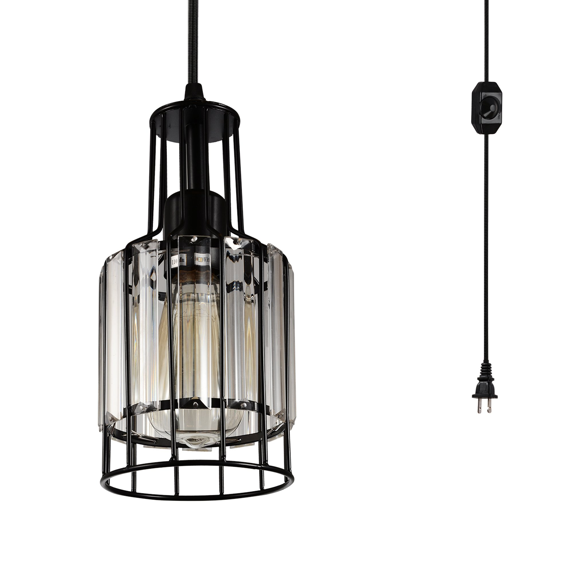 Creatgeek Plug in Crystal Pendant Light with 16 Ft Cord and In-Line On/Off Dimmer Switch, Unique Swag Hanging Lamp for Room Corner, Night Stand, Kitchen Island or Dining Room