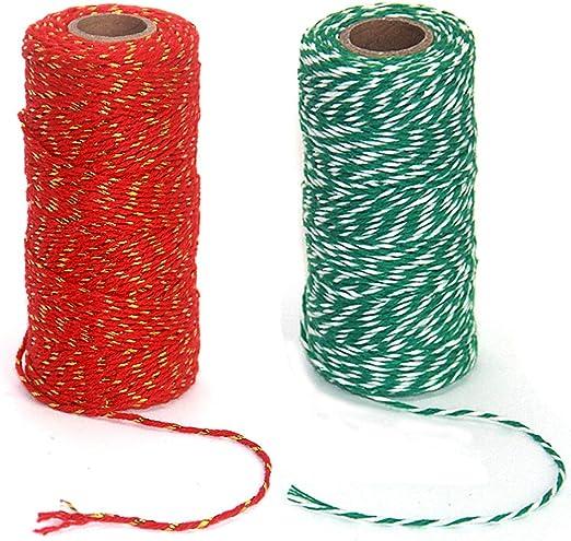 Enhigh 2 Rollos 656 pies Cuerda de Navidad, Hilo de algodón para ...