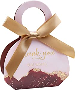 Doris Home 50 pcs Birthday Wedding Party Favor Boxes,Burgundy 2.5 * 1.37 * 3 inch Wedding Gift Bags Chocolate Candy and Gift Boxes Bridal Shower Party Paper Gift Boxes with Ribbons
