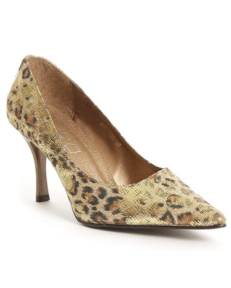 Jimei Punkyfish, Zapatos Negros Para Mujer, Dorado (- Gold Leopard), 36