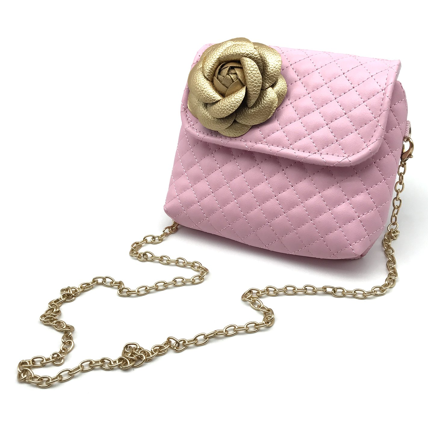 Elesa Miracle Kids Girl Quilted Leather Crossbody Handbag Purse, Chain Bag Little Girl Metal Chain Strap Bag (Pink with Gold Flower)