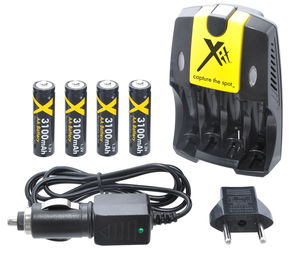 Xit XTCH2950 4 AA Rechargeable Batteries with Charger 2950mAh, Black