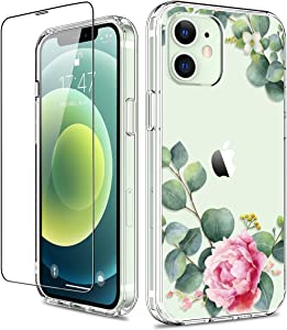 GiiKa for iPhone 12 Case, iPhone 12 Pro Case with Screen Protector, Clear Full Body Protective Floral Girls Women Shockproof Hard Case with TPU Bumper Cover Phone Case for iPhone 12, Camellia