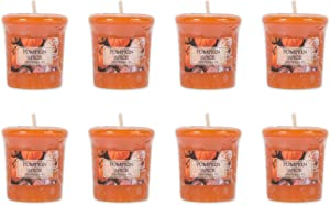 Home Traditions Single Wick Evenly Burning Highly Scented Votive Candle, Set of 8 (1.8 Oz Each) For Wedding, Birthday, Holiday, & Home Décor - Pumpkin Spice