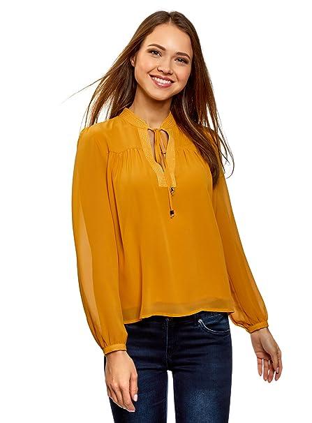 oodji Collection Mujer Blusa de Gasa Ancha con Lazos, Amarillo, ES 36 / XS