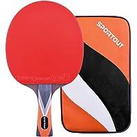 Easy-Room Pala de Ping Pong Profesional aprobada por la ITTF, con Funda, 9 Capas de Madera y Hoja de Carbono de 8 Capas