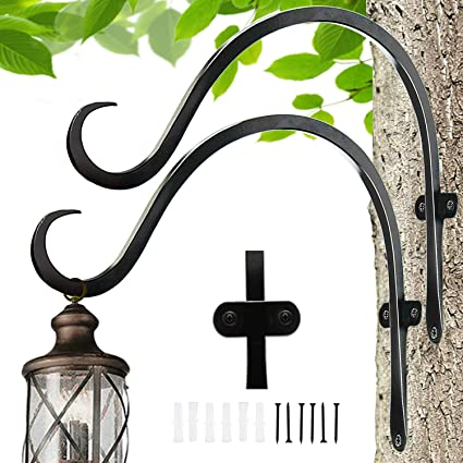Amazon Com Hanging Plant Bracket For Plant Hangers Outdoor Sturdy Wall Plant Hooks For Bird Feeder Flower Baskets Decorative Plants Wind Spinners 2 Pack 12 Inch Garden Outdoor