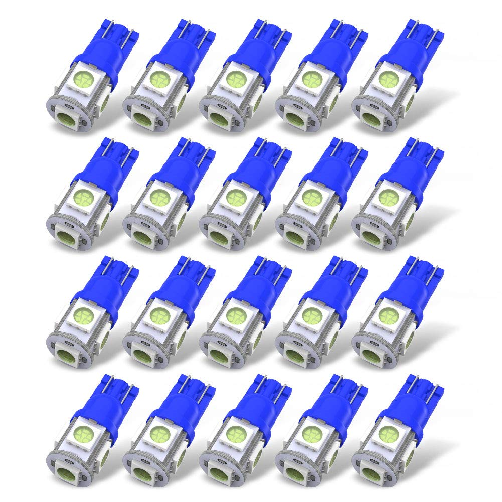 YITAMOTOR 20 X T10 Wedge 5-SMD 5050 Ice Blue LED Light Bulbs W5W 2825 158 192 168 194 Reading Dome Map Cargo Trunk Door Doorstep Courtesy License Plate Side Marker Light