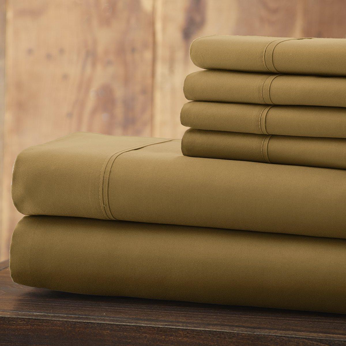 Spirit Linen 6 Piece Everyday Essentials 1800 Series Sheet Set, Queen, Gold