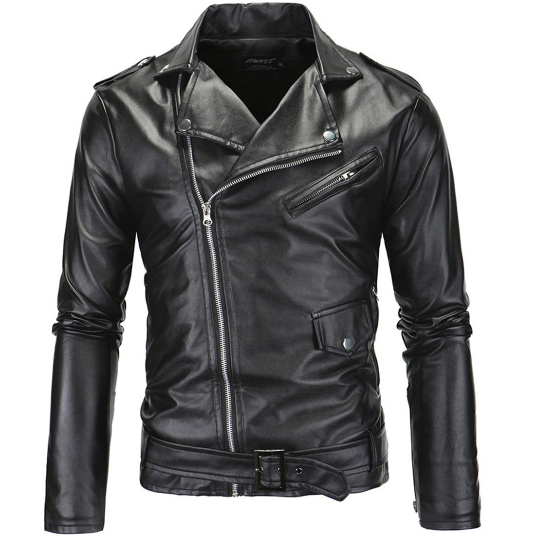 PU Leather Jacket, Mens Long Sleeve PU Leather Coat Biker Black Leather Trench Coat Zipper Jacket For Men HDH
