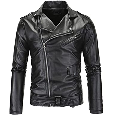 PU Leather Jacket,Mens Long Sleeve PU Leather Coat Biker Black ...