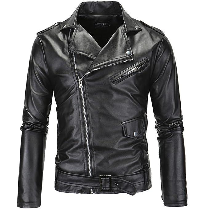 PU Cuero De Abrigos De Moda Para Hombre Chaqueta Mens Fashion Jacket Outerwear Leather Top (