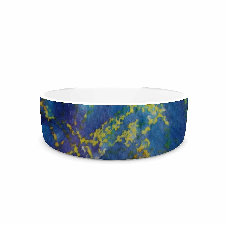 7\ KESS InHouse Cyndi Steen Deep bluee  Yellow Abstract Pet Bowl, 7