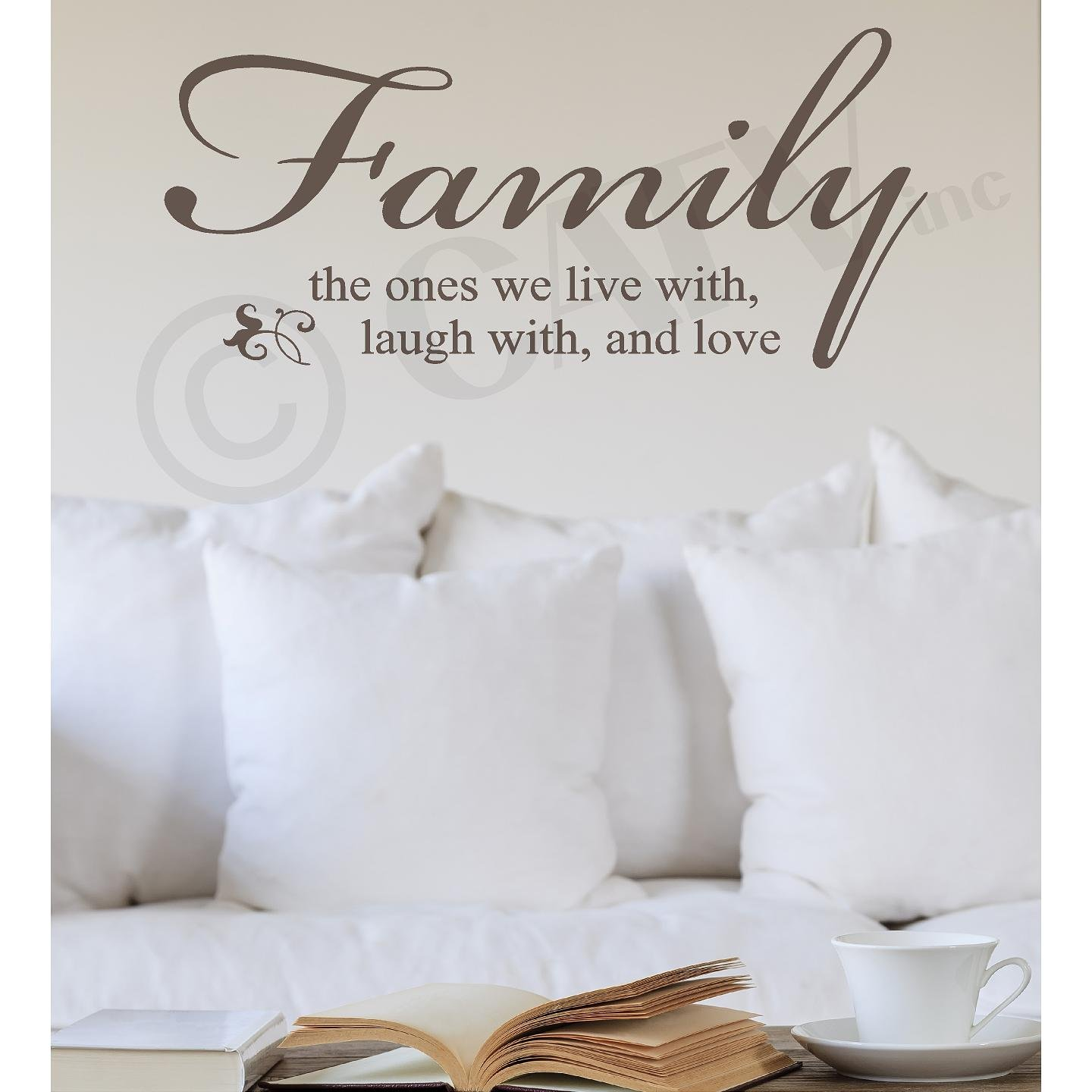 Family the Ones We Live with, Laugh with, and Love Vinyl Lettering Wall Decal Sticker (16''H x 35''L, Metallic Bronze)