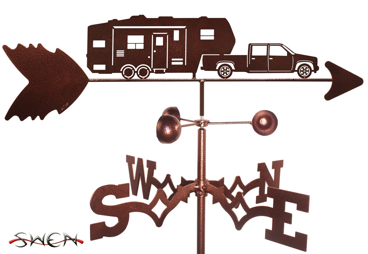 Hand Made 5TH WHEEL CAMPER FLAT POST Mount Weathervane ~NEW~ SWEN Products