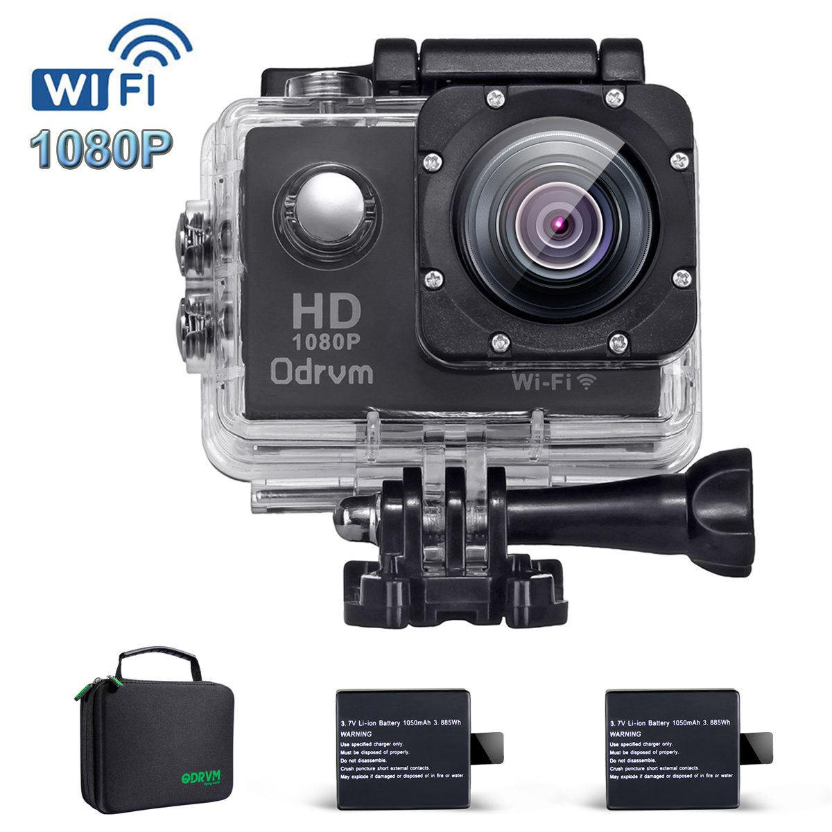 2.0-Inch WIFI HD 1080P Waterproof Action Camera Black 12MP Diving 30M Underwater Camera With 2PCS Battery, Helmet Cam Bicycle Sports Camera for Biking, Racing, Skiing, Motocross And Water Sports ODRVM F23-WIFI-CA-A