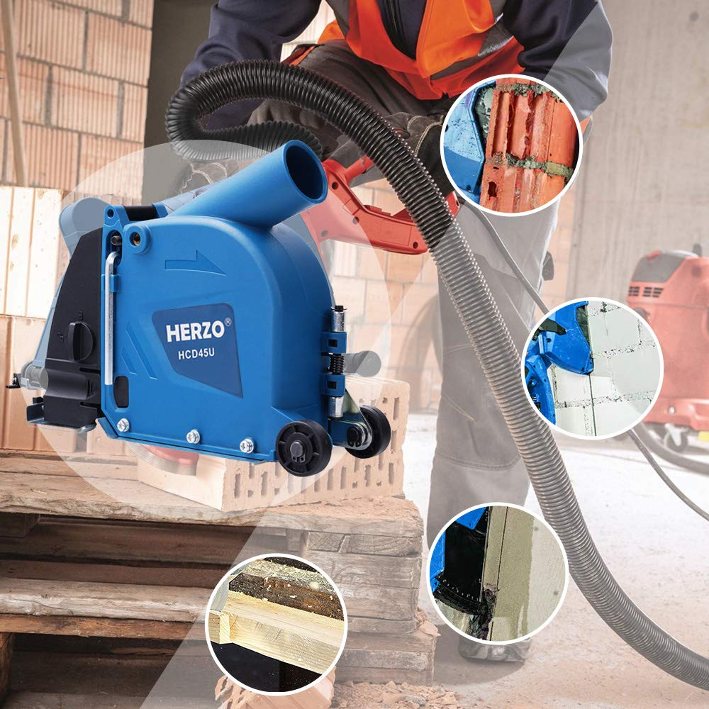 HERZO Cutting Dust Shroud 125 mm// 5 inch Dust Collection Attachment for Angle Grinders