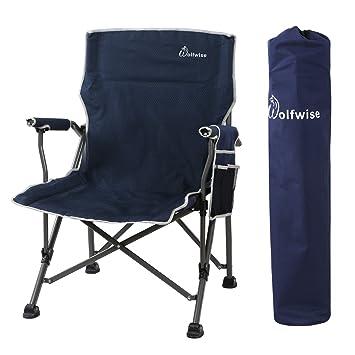 Wolfwise Chaise De Plage Pliante Assise Large Chaise De Camping Siège Randonnée Super Solide Bleu Foncé