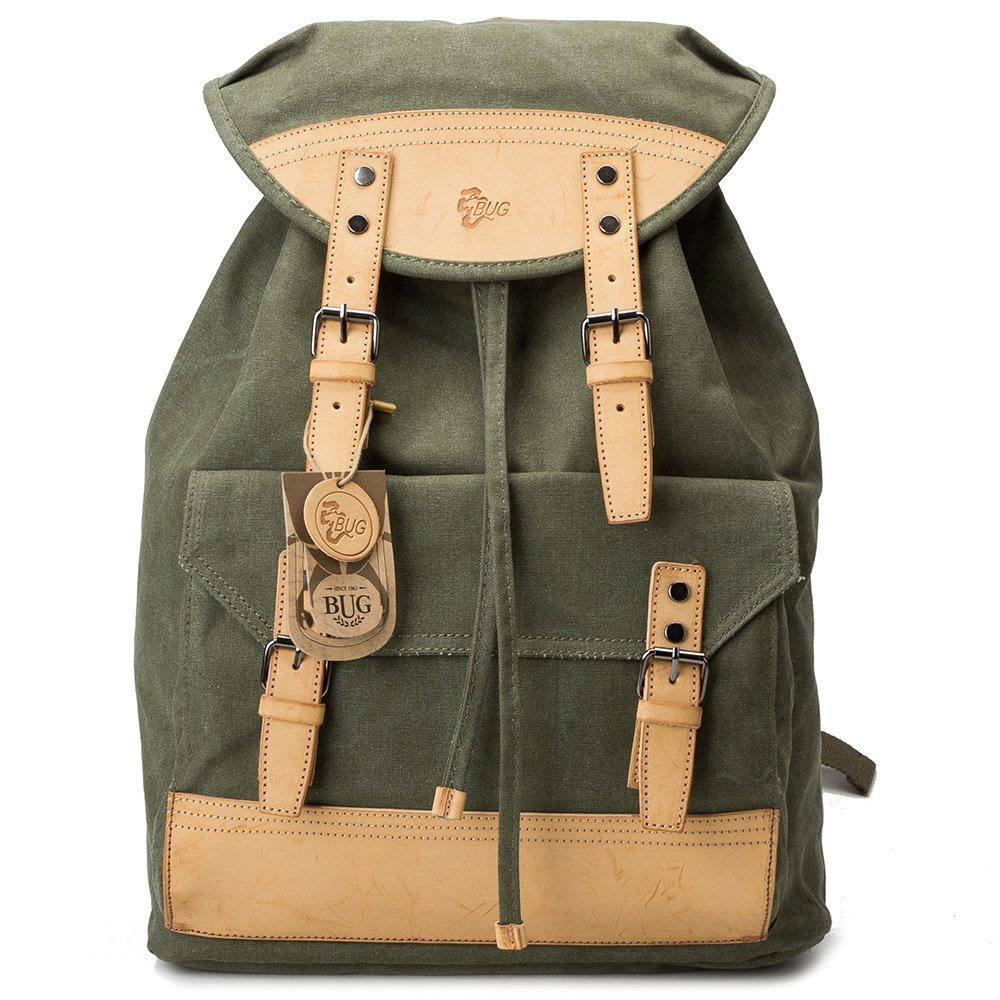 BUG Canvas Vegetable Leather Backpack Eco-Friendly laptop bag
