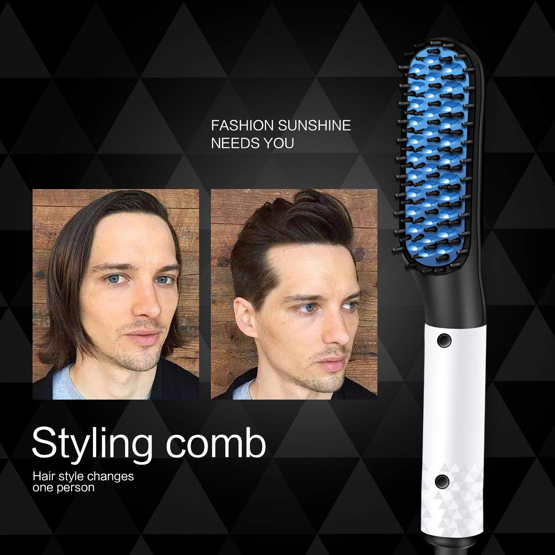 Straightener Comb for Men,Sunvito Electric Beard Straightener,Quick Beard Straightener Comb,Multifunctional Quick Curling Curler Straightener Comb for Men