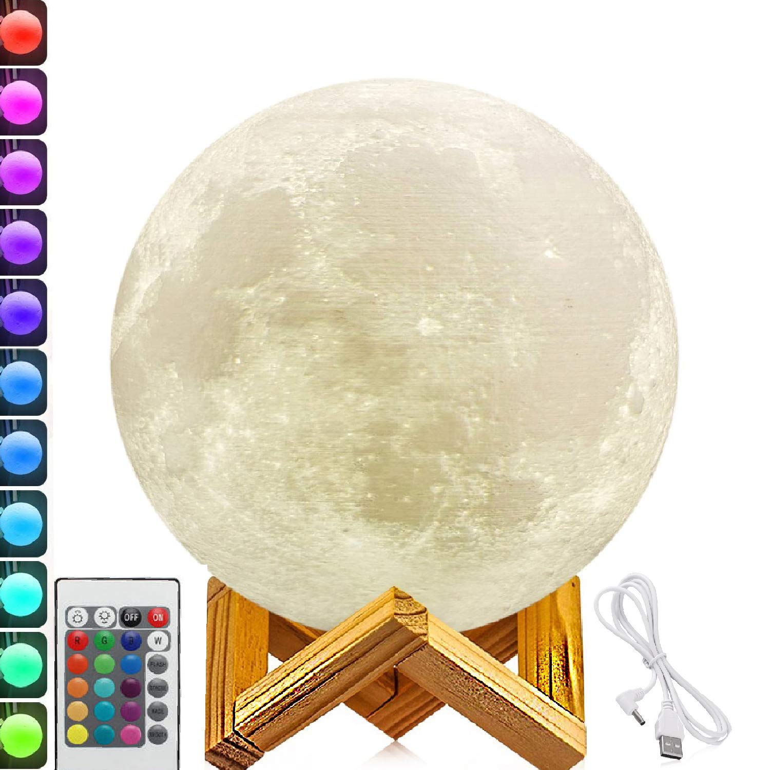 13.7 inch Large Moon Lamp,3D Moon Lamp, 100% 3D Printed Big Moon Lamp,16 Colors Moon Lamp with Remote Control Decorative Moon Light.
