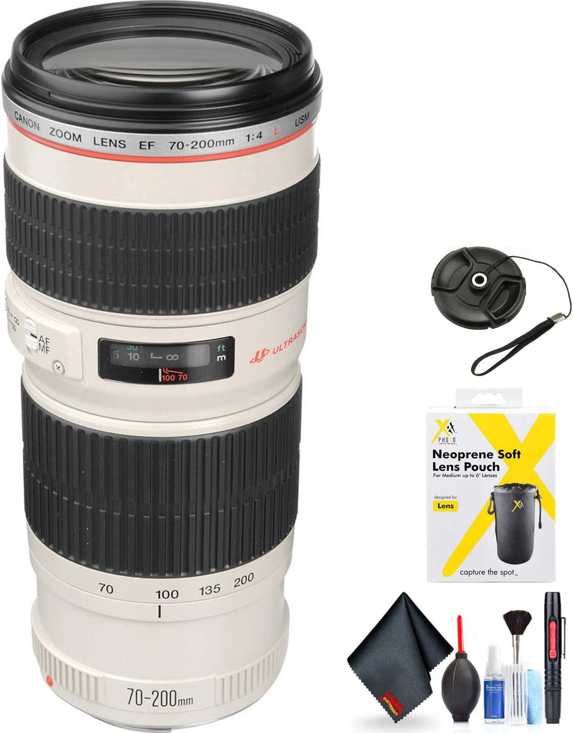 Canon EF 70-200mm f/4L USM Telephoto Zoom Lens for Canon EF Mount + Accessories (International Model with 2 Year Warrant