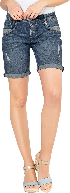 Pantaloncini di Jeans da Donna Effetto Used Fresh Made Jeans con Taglio Boyfriend firmati Bermuda