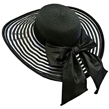 aa5f3805 Black Wide Brim Floppy Hat Large With Satin Bow at Amazon Women's Clothing  store: Sun Hats