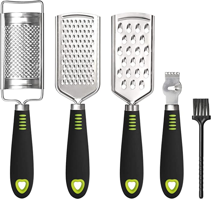 SUTINE Set of 5 Cheese Grater &Shredder ,Lemon Zester, Multi-purpose Graters for Kitchen ,Stainless Steel Handheld Food Grater Slicer for Vegetable, Fruit, Chocolate With Cleaning Brush