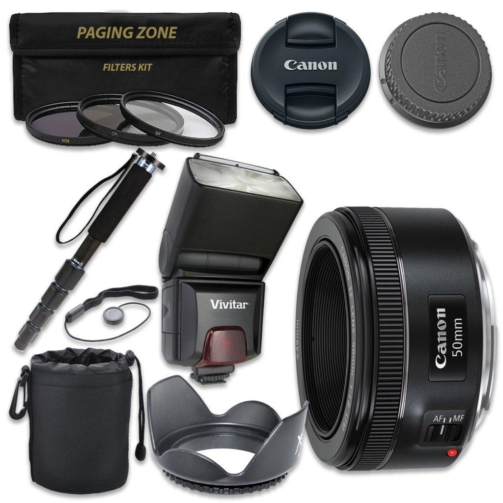 Canon EF 50 mm f / 1.8 STMレンズとVivitar TTLフラッシュ+ 3個入りフィルタキット+一脚   B01N3U1I6X