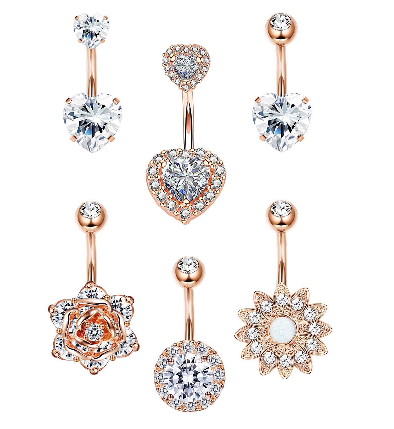 LOYALLOOK 6PCS Stainless Steel Belly Button Rings Womens Girls CZ Navel Rings Curved Barbell Rings Double Heart CZ Body Piercing 14G Rose Gold Tone by LOYALLOOK