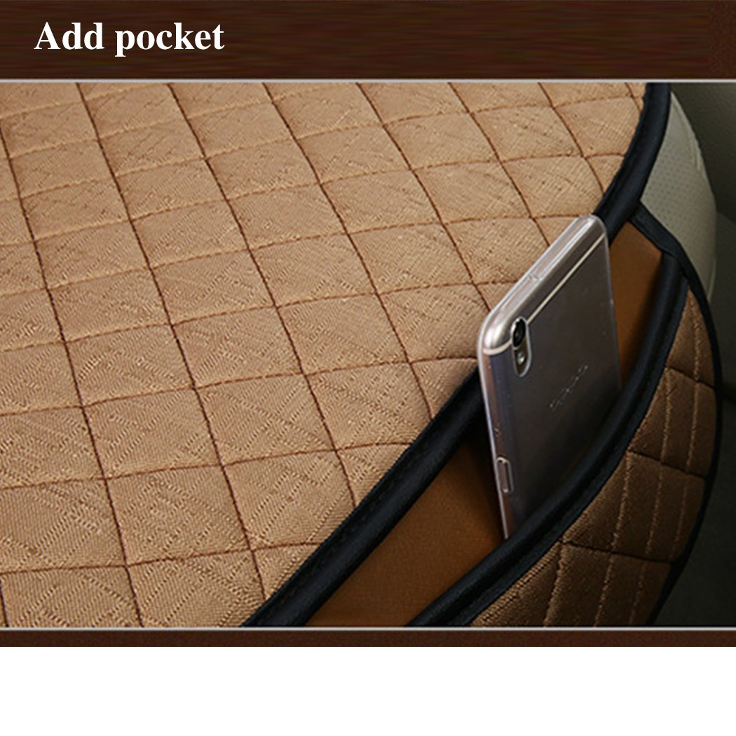 2pc Breathable Car Interior Seat Cover Cushion Pad Mat for Auto Supplies Office Chair with PU Leather Bamboo Charcoal Black