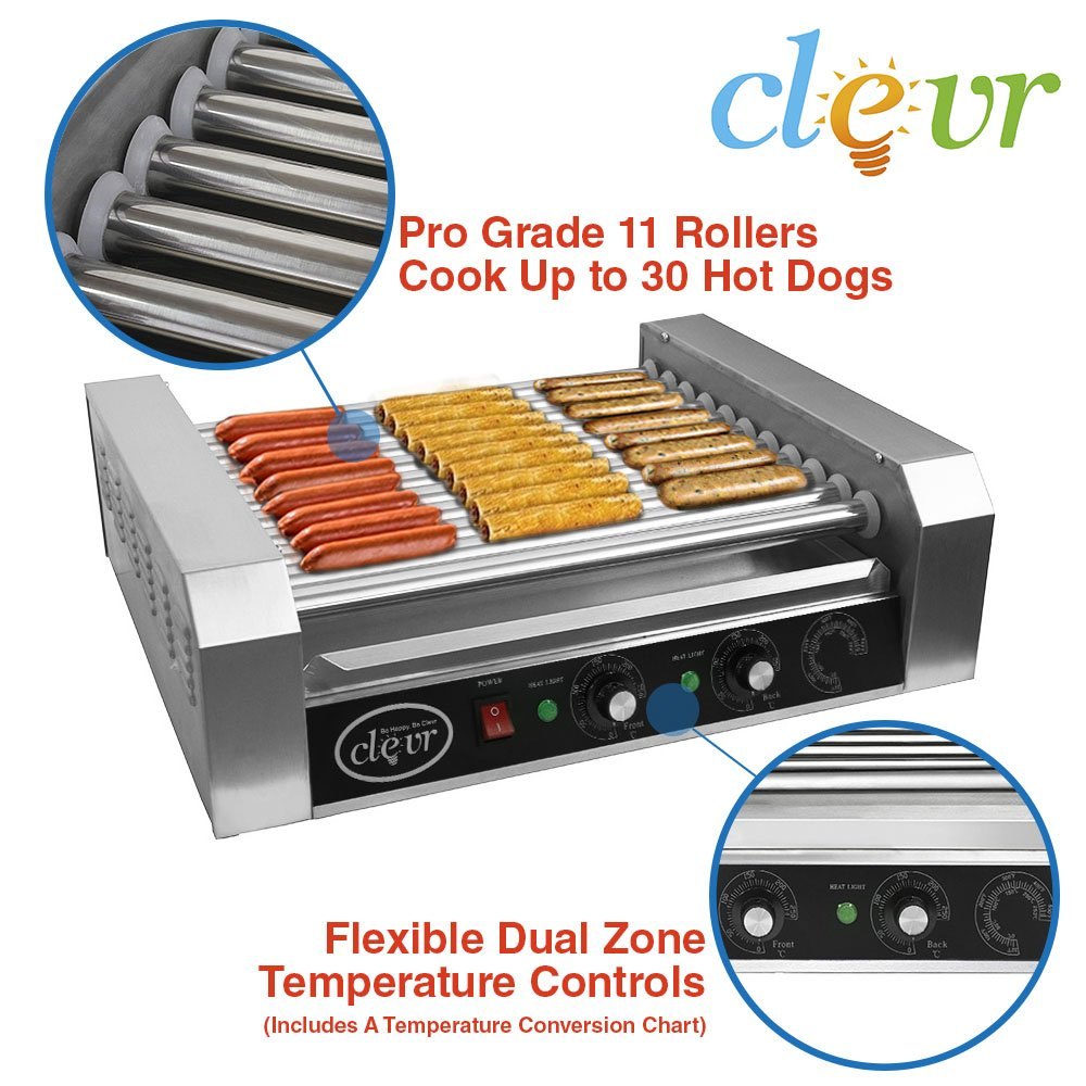 Clevr Commercial Hotdog Roller Machine 11 Roller and 30 Hot Dog Grill Cooker Warmer