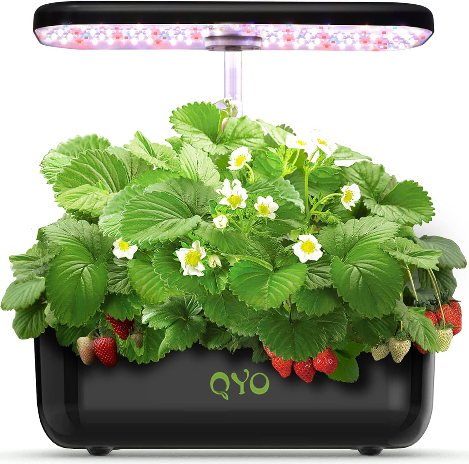 QYO 12 Pods Hydroponics Growing System, Indoor Herb Garden Kit with LED Grow Light, Automatic Timer Germination Kit with Height Adjustable, Smart Garden Planter for Kitchen Home(Seeds Not Include )