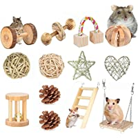AWITHZ Hamster Chew Toys, Guinea Pig Toys Natural Wooden Pine Rats Chinchillas Toys Accessories Dumbells Exercise Bell…