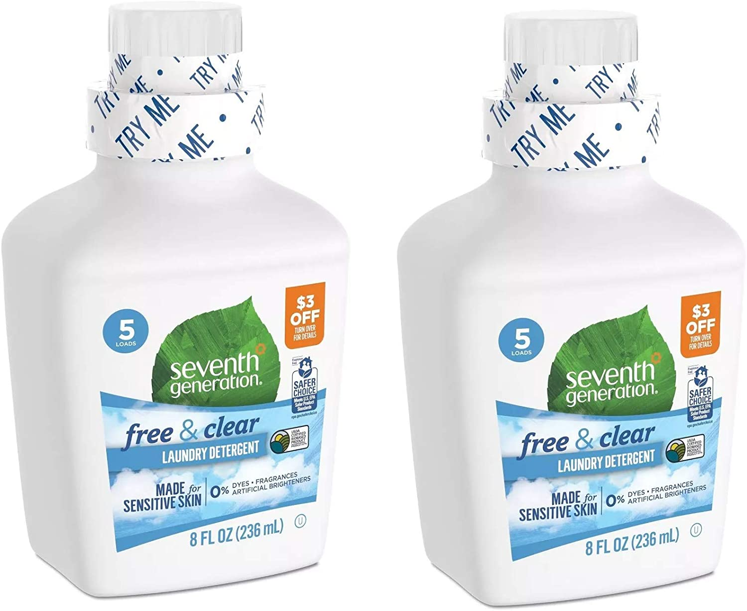 Seventh Generation - Free & Clear Trial Liquid Laundry Set of 2 Bottles - 8oz Each