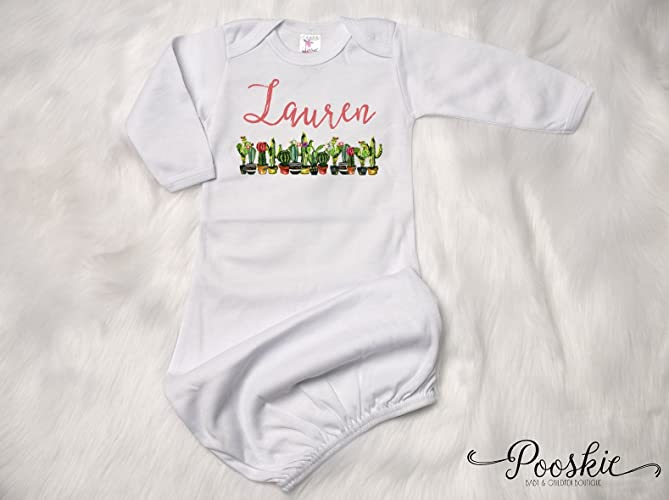 Amazon.com: Cactus Baby Gown, Personalized Newborn Gown, Baby Shower ...