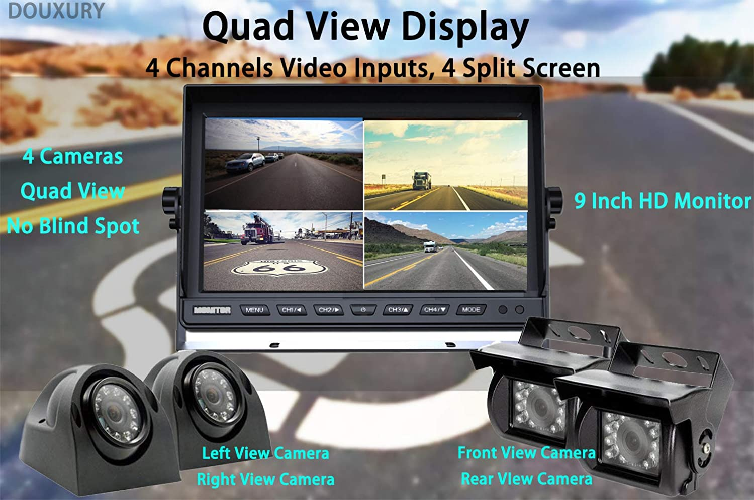 Douxury Backup Camera System Waterproof Night Vision Cameras x 4 for Truck Trailer Heavy Box Truck RV Camper Bus 4 Splite Screen 9 Quad View Display HD Monitor with DVR Recording Function