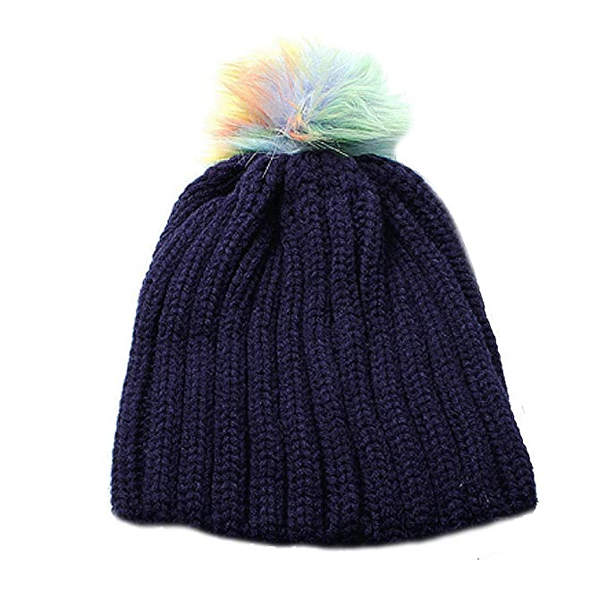 f5ed656cf42 ... website for discount 2ff84 5c02e Unisex Navy Heavy Rib Knit Beanie Hat  with Multicolour PomPom ...