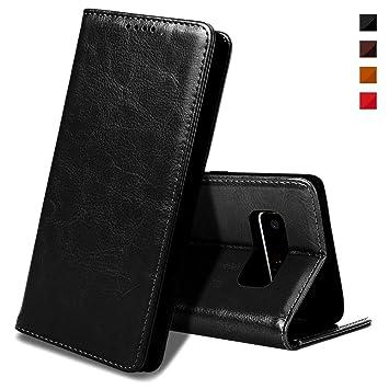 EATCYE Funda Galaxy Note 8, [Cuero Genuino] Prima Vintage Carcasa Libro de Cuero Estuche Plegable [Cierre Magnético] para Samsung Galaxy Note 8 ...