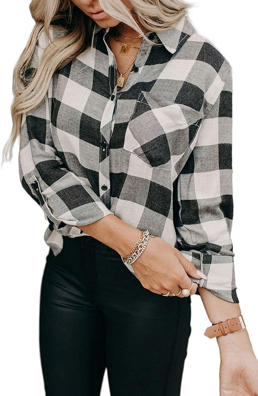 LOSRLY Camisa clásica a cuadros de manga larga para mujer ...