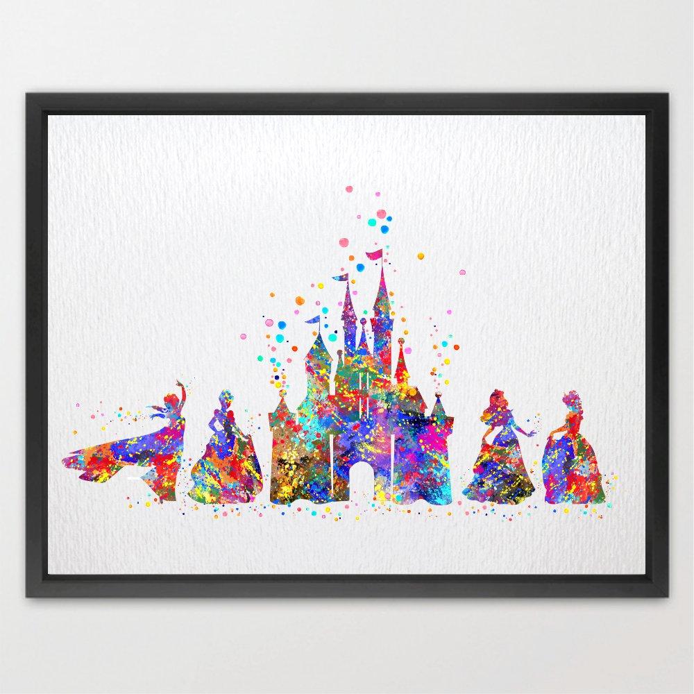 Dignovel Studios 8X10 Unframed Cartoon Castle Fairy Princess Inspired Watercolor Art Print Kids Wall Poster N155