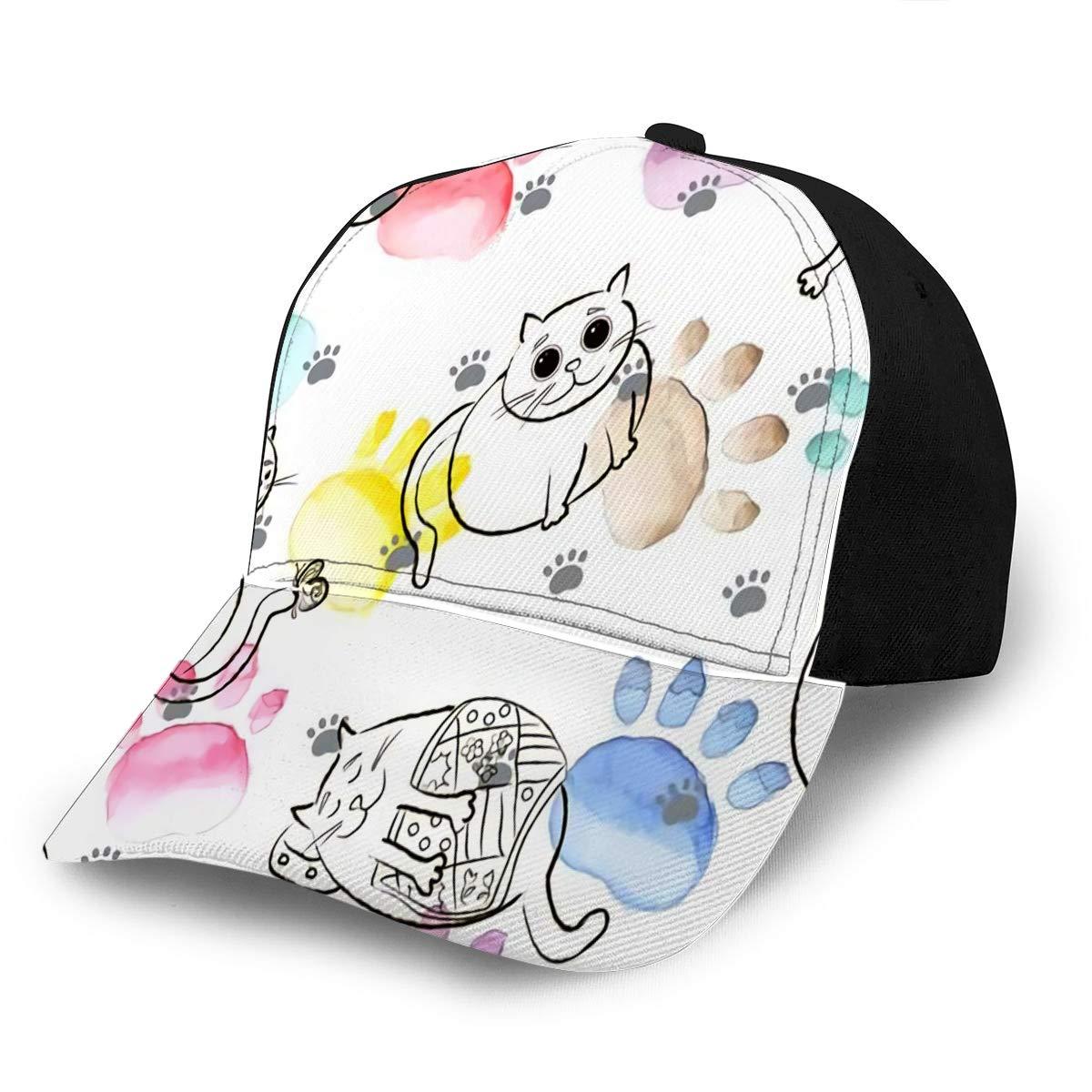 3D Printed Baseball Cap Hats Sketch Fat Cat in Watercolor Fits Men Women Boys Gi