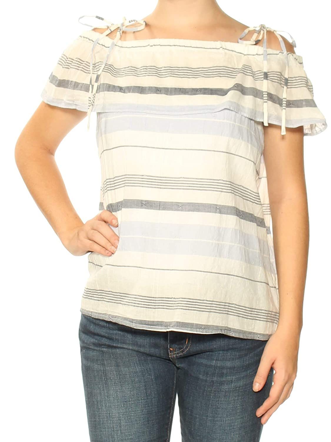 ae30b79057e8d Amazon.com  Two by Vince Camuto Womens Striped Off-The-Shoulder Casual Top   Clothing