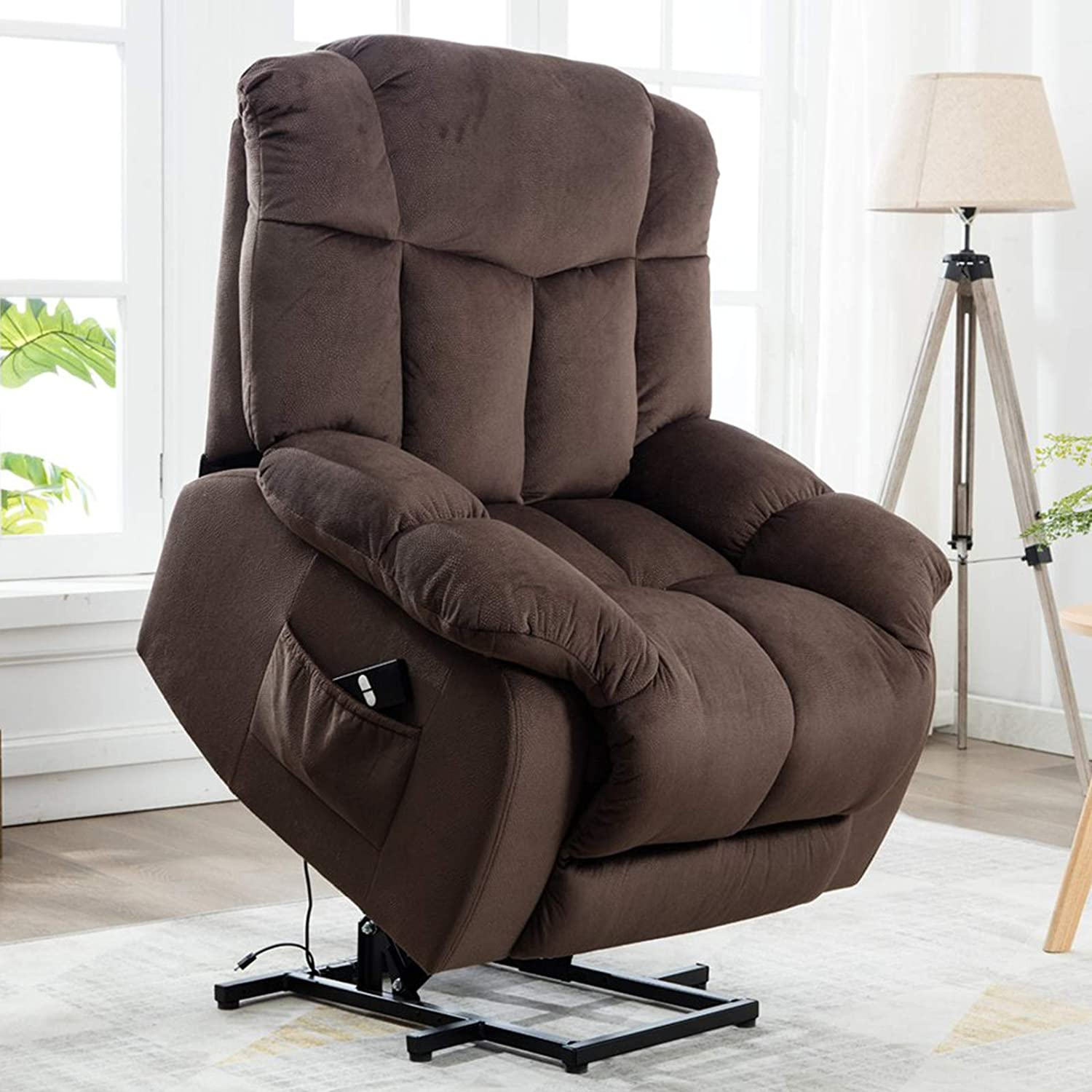 Canmov Power Lift Recliner Chair Heavy Duty and Safety Motion Reclining Mechanism Antiskid Fabric sofa Living Room Chair with Overstuffed design,