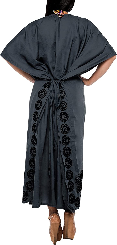 LA LEELA Womens Casual Caftan Dresses Sleepwear Beach Cover Up Solid Plain