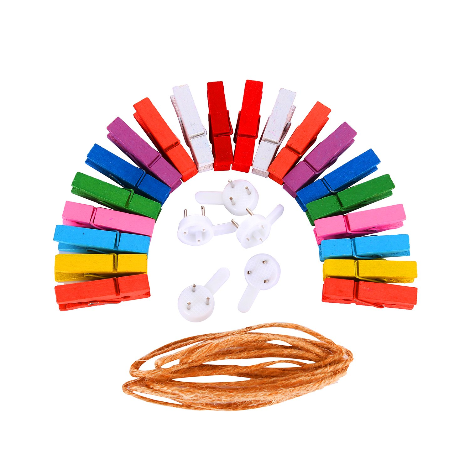 VABNEER Wooden Clothespins Clothes Pegs 100 Pcs Mini Colorful Wood Pegs Photo Clips + Approx 25M Jute Twine + 10 Pcs Traceless Nail