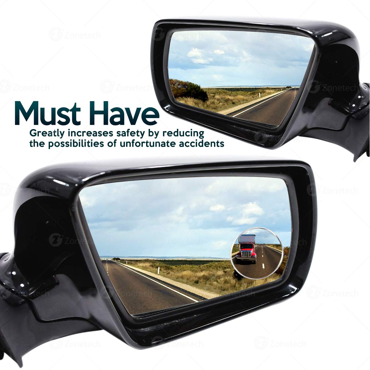 Rearview Aluminum Border Vehicle Mirrors Comfort Wheels MI0001 ZONETECH Car Round Blind Spot Mirror-Zone Tech Thin Universal Fit-2 inch Stick on SUV