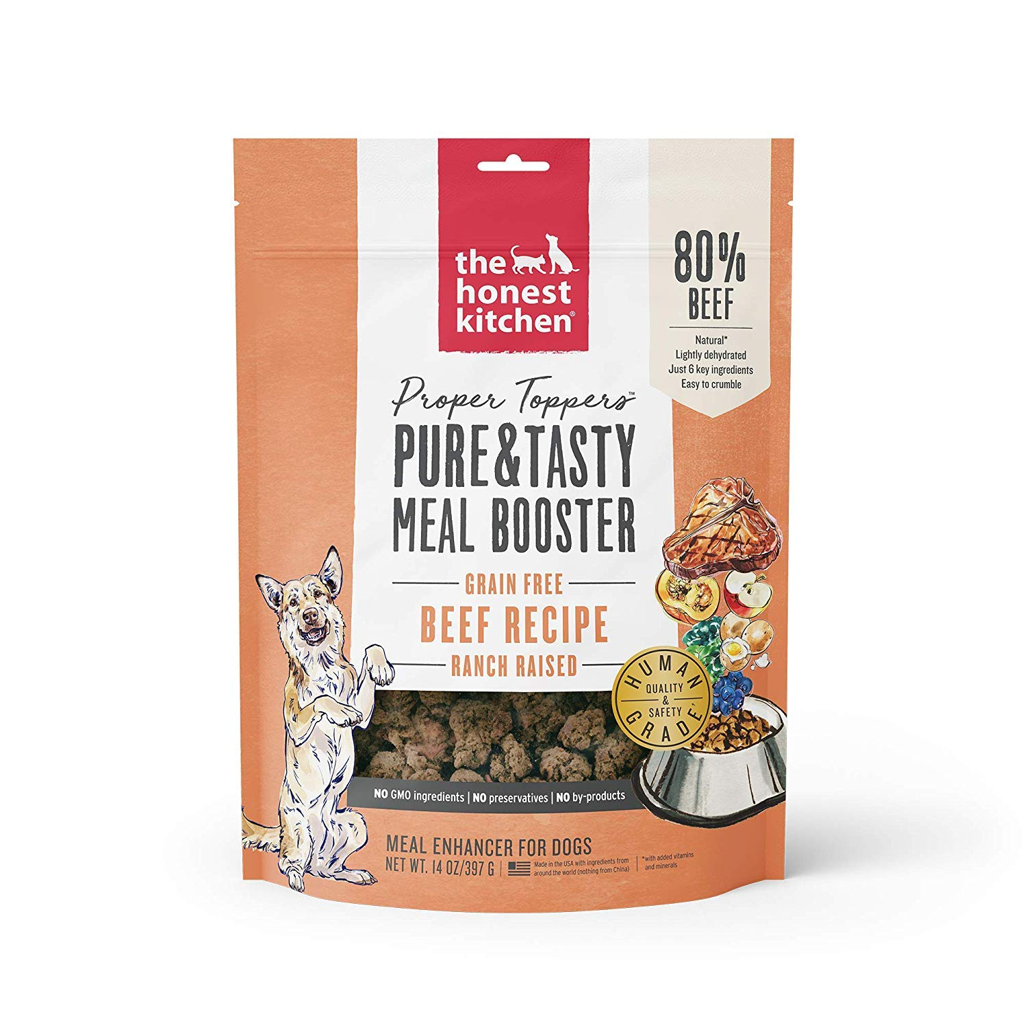 Honest Kitchen The Human Grade Dehydrated Grain Free Dog Food Topper, Beef, 28 oz by Honest Kitchen