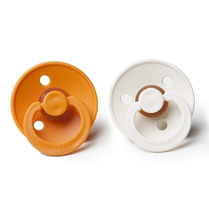Bibs BPA bebé de goma natural Chupete | Hecho en Dinamarca 2-Pack Albaricoque/Marfil 6-18 Meses